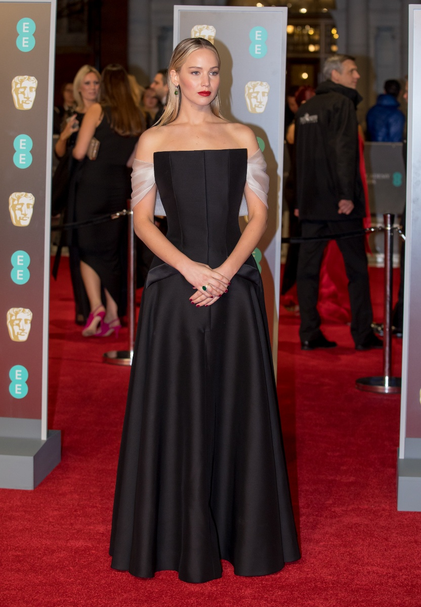 Jennifer Lawrence arrives at the EE British Academy Film Awards, Bafta Awards, at the Royal Albert Hall in London, England, Great Britain, on 18 February 2018. - NO WIRE SERVICE - Photo: Hubert Boesl/Where: London, England, United KingdomWhen: 19 Feb 2018Credit: Hubert Boesl/picture-alliance/Cover Images