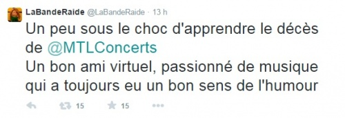 Richard Legault fondateur du site Montreal Concerts et journaliste musical est decede
