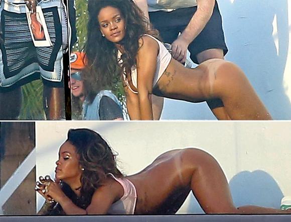 Rihanna en photoshoot pour un magazine français sans pantalon ni slip