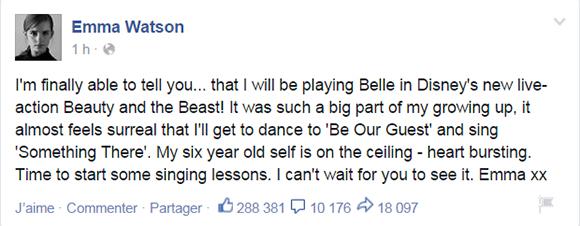 Emma Watson choisie pour jouer Belle dans le film musical Beauty and the Beast