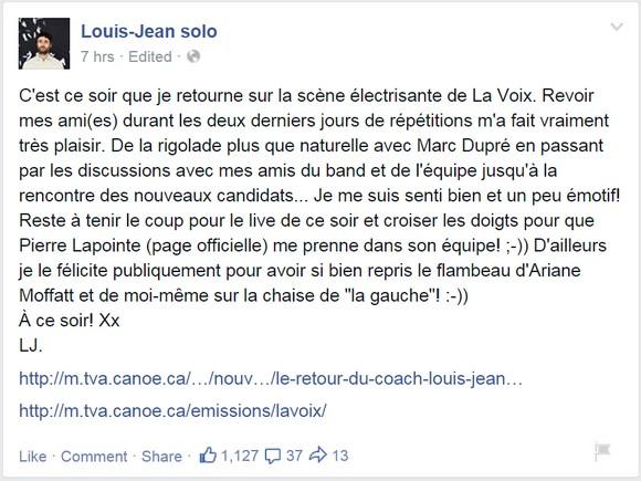 La Voix – Le retour de Louis-Jean Cormier