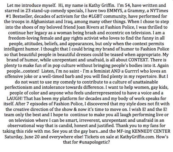 Kathy Griffin quitte l'émission Fashion Police après Kelly Osbourne