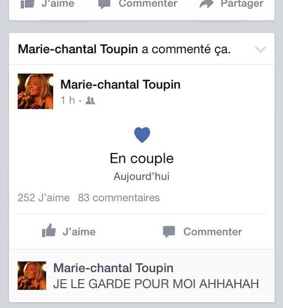 Marie-Chantal Toupin est en amour - MISE À JOUR