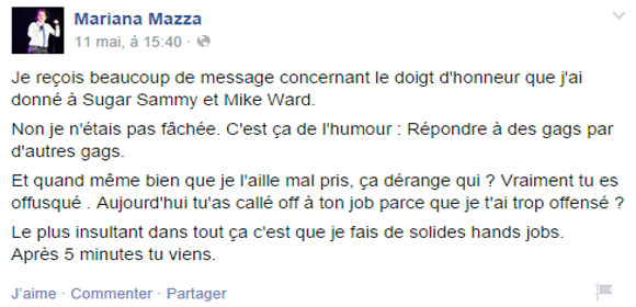 Mike Ward prend la défense de Mariana Mazza