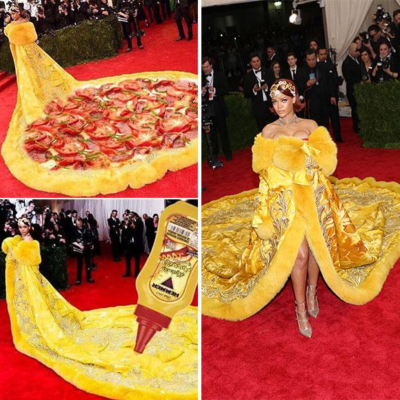 Internet se moque de la robe jaune de Rihanna