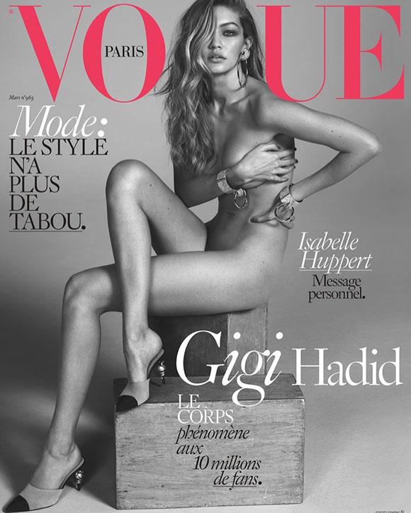 À l'international - Gigi Hadid nue sur la couverture du magazine Vogue Paris