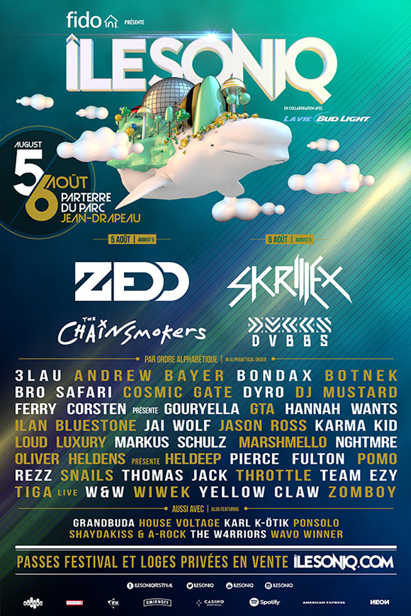 Skrillex en tête d'affiche du festival île Soniq de Montréal