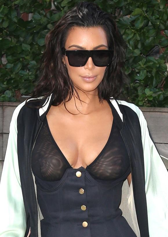 Kim Kardashian Rocks A See Through Top In NYC