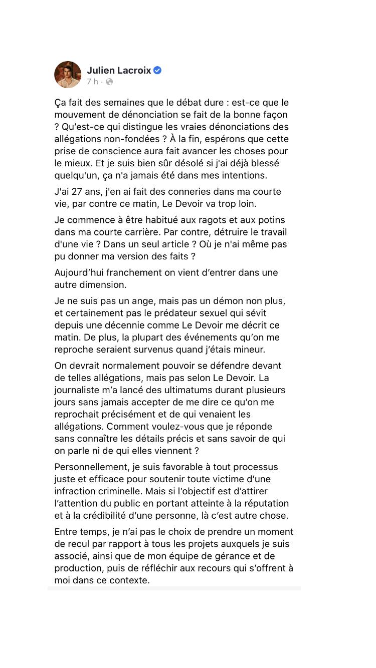 Julien Lacroix disparaît des réseaux sociaux après des ...